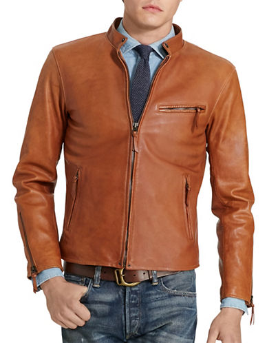 Polo Ralph Lauren Lambskin Cafe Racer Jacket-OLD AMBER-Small