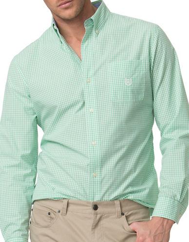 Chaps Gingham Poplin Sport Shirt-GREEN-2X Big