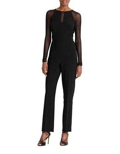 Lauren Ralph Lauren Mesh-Panel Jersey Jumpsuit-BLACK-4