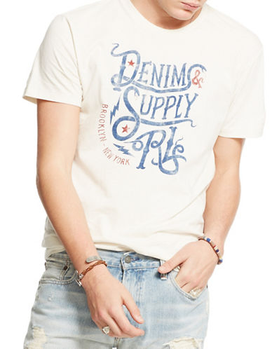 Denim & Supply Ralph Lauren Cotton Jersey Slogan Graphic T-Shirt-WHITE-Large 88281432_WHITE_Large
