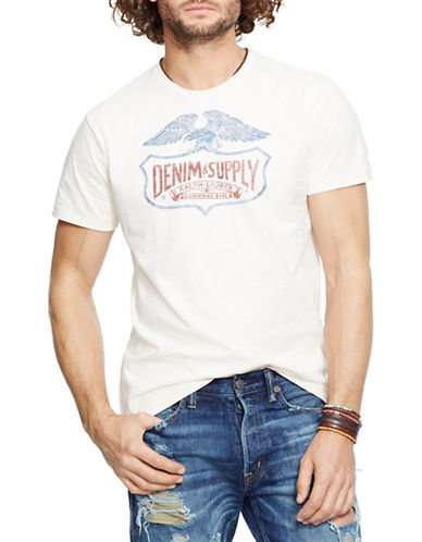 Denim & Supply Ralph Lauren Cotton Jersey Screen-Print T-Shirt-WHITE-Large 88281472_WHITE_Large