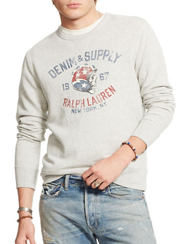 Denim & Supply Ralph Lauren French Terry Skull Graphic Sweatshirt-GREY-X-Large 88281523_GREY_X-Large