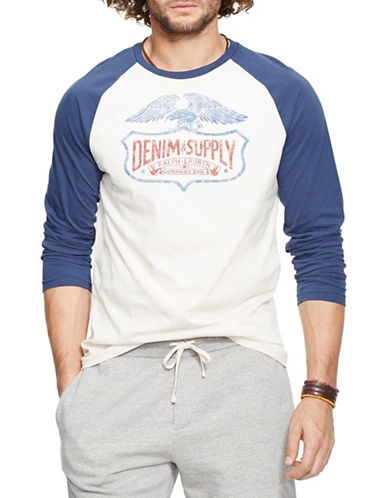 Denim & Supply Ralph Lauren Cotton Graphic Baseball T-Shirt-WHITE-Large 88281535_WHITE_Large