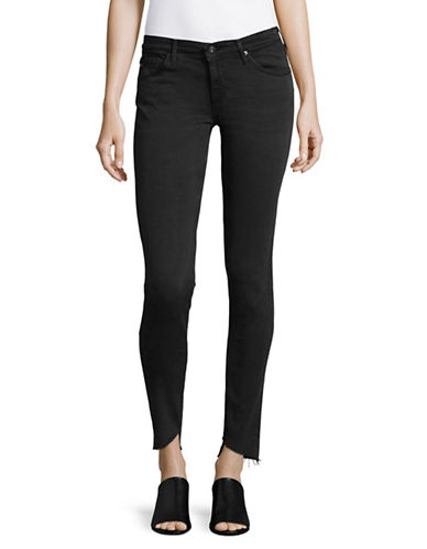 Ag Jeans The Legging Ankle Jeans with Slanted Raw Hem-BLACK-28