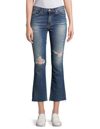 Ag Jeans Jodi High-Rise Crop Ripped Jeans-BLUE-29