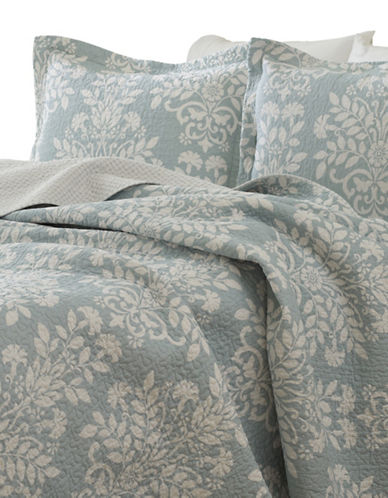 Laura Ashley Rowland Quilt Set-BLUE-Queen
