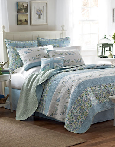 Laura Ashley Birds And Branches Quilt-BLUE-Twin