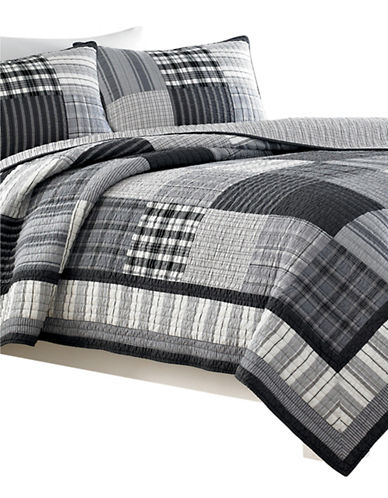 Nautica Gunston Quilt Patchwork Bedspread-GREY-Queen