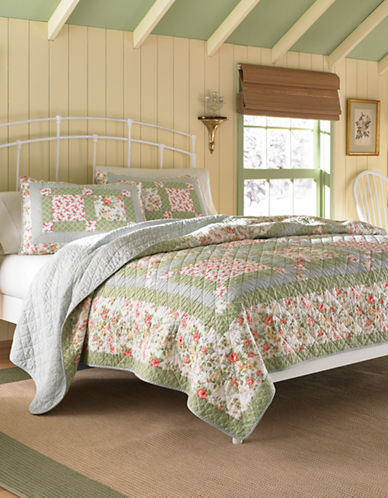 Laura Ashley Abbott Floral Cotton Quilt-GREEN-Twin