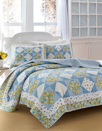 Laura Ashley Grace Diamond Patchwork Sham-BLUE-Standard