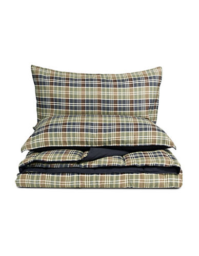 Eddie Bauer Two-Piece Plaid Comforter Set-GREEN-King