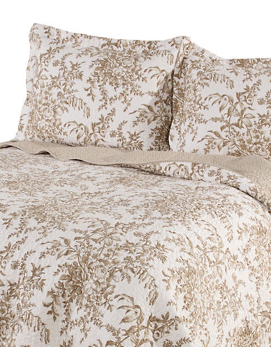 Laura Ashley Bedford Quilt Set-MOCHA-Twin