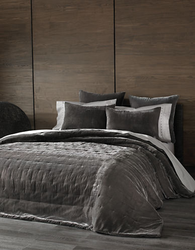 Kevin O Brien Cirrus Velvet Burnout Coverlet-SILVER-Queen