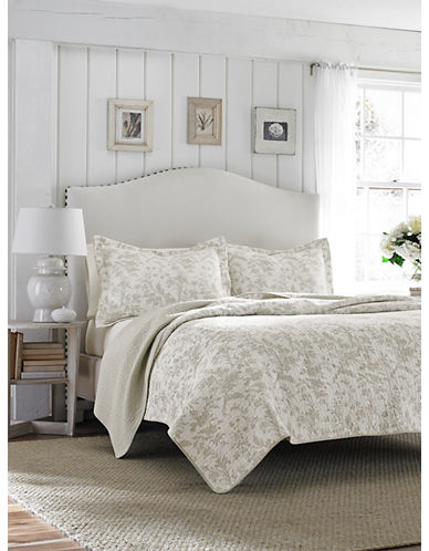 Laura Ashley Amberley Quilt Set-BISCUIT-King
