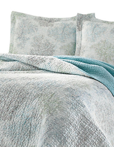 Laura Ashley Saltwater Quilt Set-BLUE-King