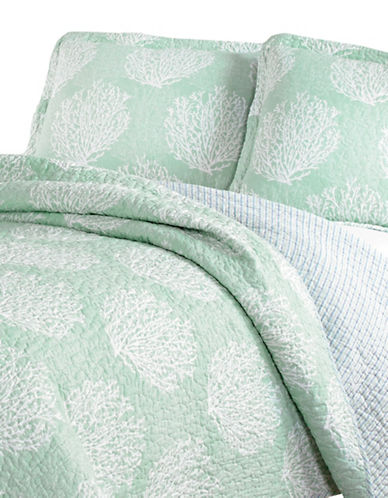 Laura Ashley Coral Coast Quilt Set-MIST-King