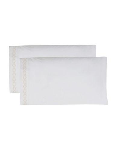 Vera Wang Fretwork Pillowcase Pairs-WHITE-Queen