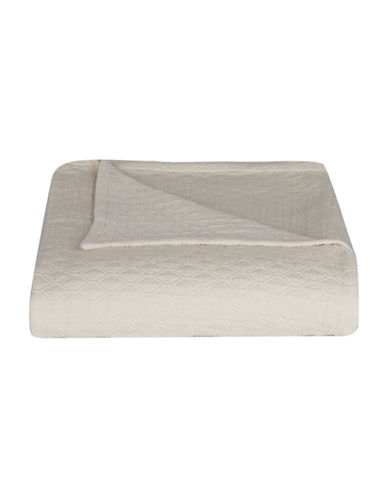 Vera Wang Puckered Diamond Matelasse Coverlet-IVORY-Queen