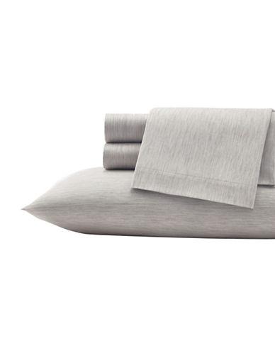 Vera Wang Marble Shibori Cotton Flat Sheet-GREY-Queen