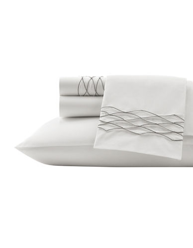 Vera Wang Corrugated Texture Cotton Flat Sheet-WHITE-Queen