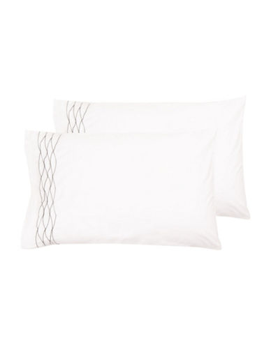 Vera Wang Corrugated Texture Two-Piece 400TC Cotton Pillowcase Set-WHITE-King