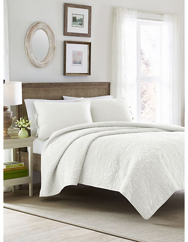 Laura Ashley Felicity Quilt Set-WHITE-Queen