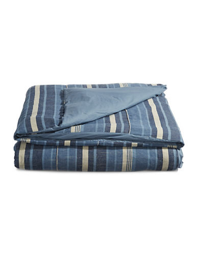 Ed Ellen Degeneres Azur Stripe Cotton-Linen Duvet Cover-BLUE-Queen