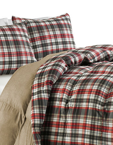 Eddie Bauer Astoria Three-Piece Comforter Set-RED-Queen