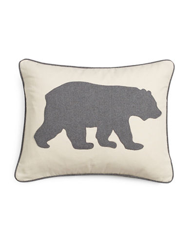 Eddie Bauer Bear Cotton Cushion-GREY-18x18