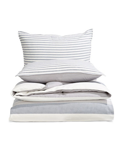 Nautica Fairwater Three-Piece Duvet Cover Set-GREY-Twin