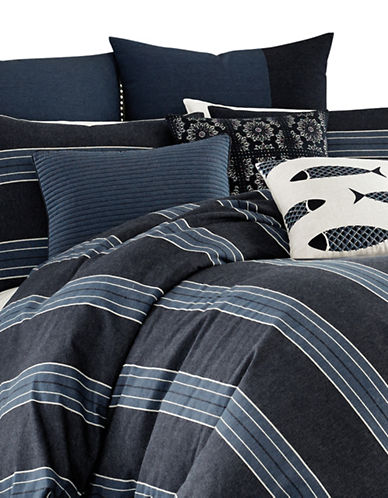 Nautica Lockridge Three-Piece Duvet Cover and Sham Set-BLUE-Queen