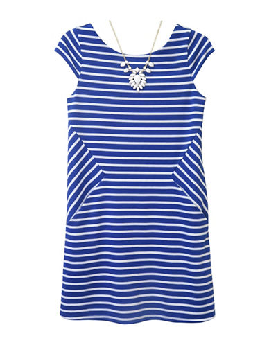 Zunie Stripe Shift Dress-BLUE-16
