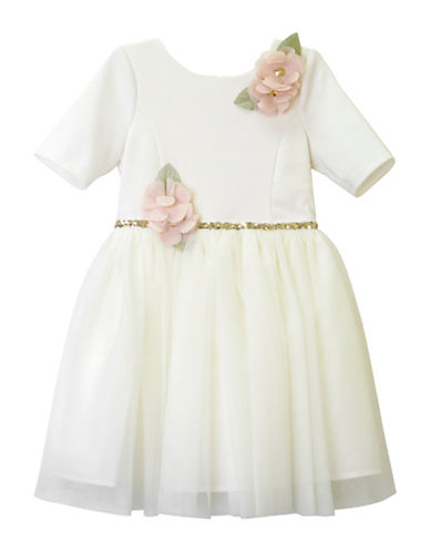Zunie Floral Elbow-Length Sleeve Dress-BEIGE-2T