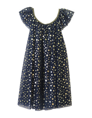 Zunie Flutter Sleeve Starry Mesh Dress-BLUE-2T