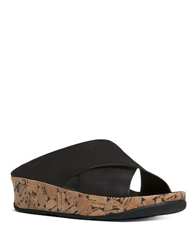 Fitflop Kys Leather Slide Sandals-BLACK-5
