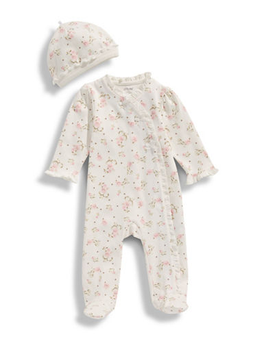 Little Me Vintage Rose Printed Footie and Hat Set-IVORY PRINT-Newborn
