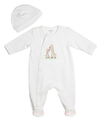 Little Me Footie Coveralls and Cap-IVORY-6 Months