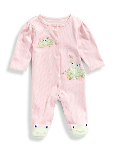 Little Me Infant Girls Sweet Frogs Footie and Hat Set-PINK PRINT-6 Months