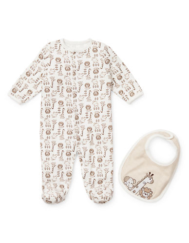 Little Me Infants Safari Print Footie with Bib-IVORY-3 Months