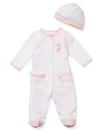 Little Me Ballerina Footie And Hat Set-PINK-Newborn