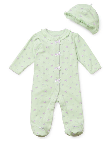 Little Me Infant Girls Petite Rose Footie and Hat Set-LIGHT GREEN-6 Months