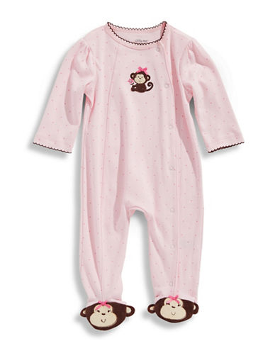 Little Me Infant Girls Monkey Footie-BLUSHING BRIDE-Newborn