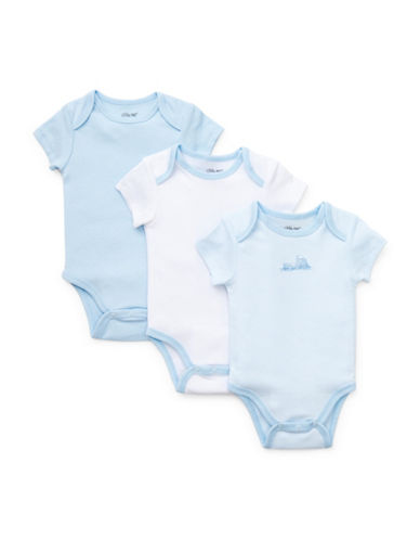 Little Me Three-Pack Train Bodysuits-BRIGHT WHITE-9 Months