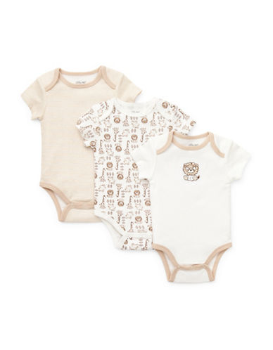 Little Me Three-Pack Safari Bodysuits-BEIGE-Newborn