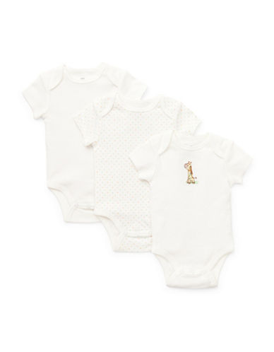 Little Me Three-Pack Giraffe Bodysuits-WHITE-9 Months