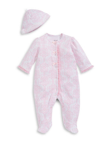Little Me Damask Footie Sleeper with Hat-ROSE/WHITE-3 Months