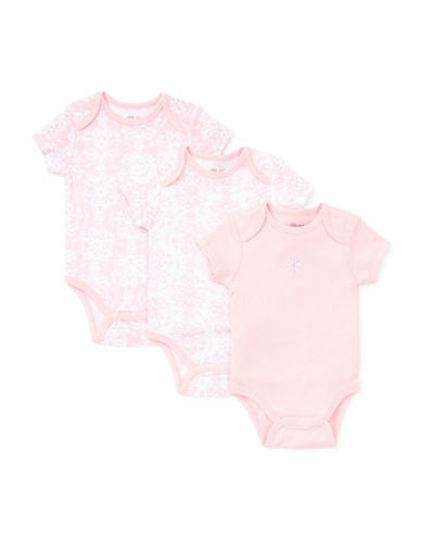 Little Me Three-Pack Damask Bodysuits-PINK-9 Months