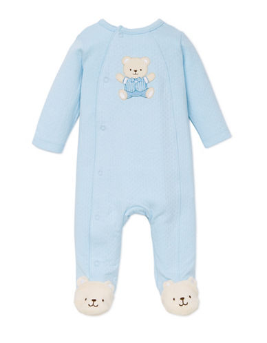 Little Me Teddy Bear Footed Sleeper-LIGHT BLUE-3 Months