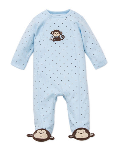 Little Me Monkey Footed Sleeper-BLUE/BROWN-6 Months