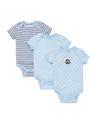 Little Me Three-Pack Monkey Bodysuits-BLUE/BROWN-9 Months